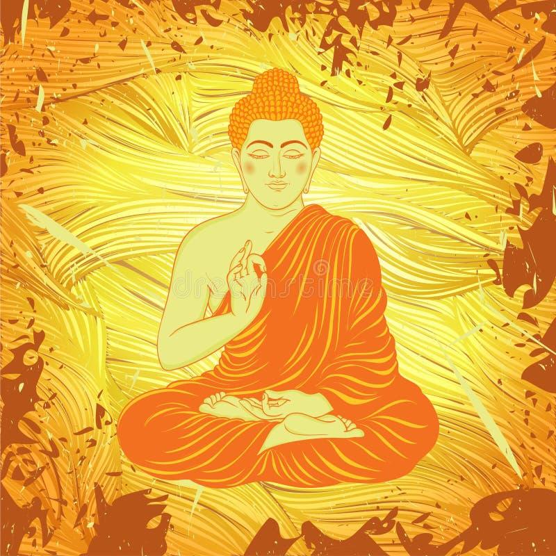 Cartel del vintage con sentar a Buda en el fondo del grunge sobre modelo redondo de la mandala adornada ilustración del vector