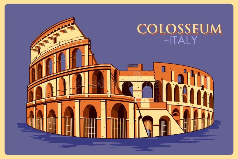 Cartel del vintage de Colosseum en el monumento famoso de Roma en Italia libre illustration
