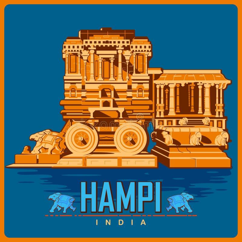 Cartel del vintage de Hampi en el monumento famoso de Karnataka de la India stock de ilustración