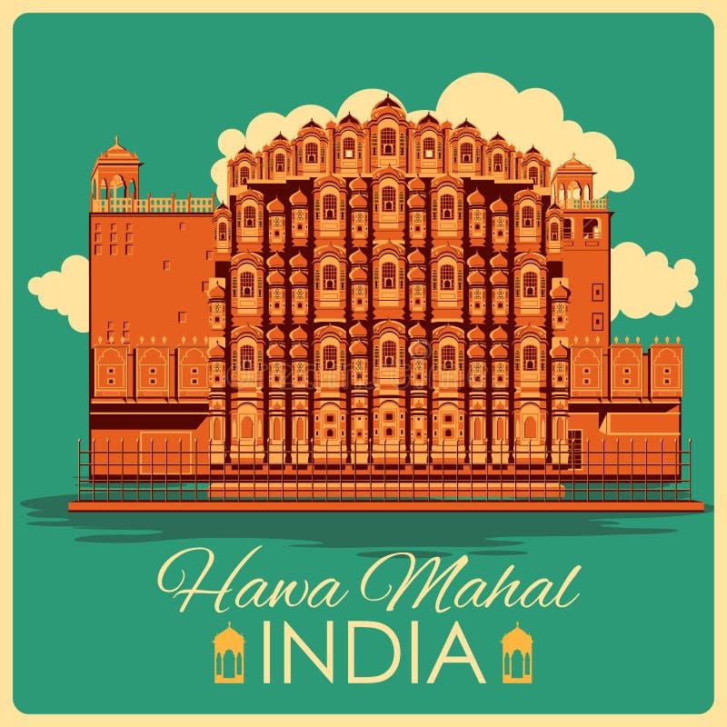 Cartel del vintage de Hawa Mahal en el monumento famoso de Rajasthán de la India stock de ilustración
