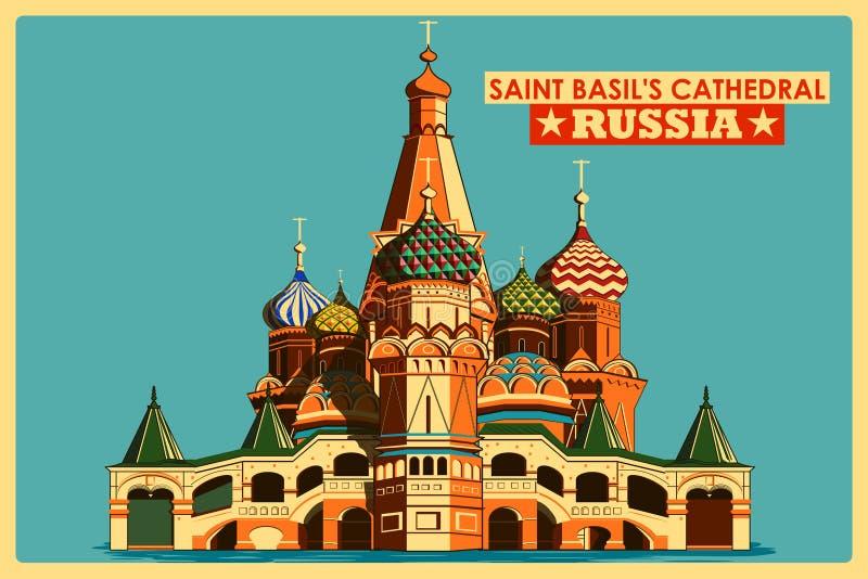 Cartel del vintage de la catedral de la albahaca del santo en el monumento famoso de Moscú en Rusia ilustración del vector