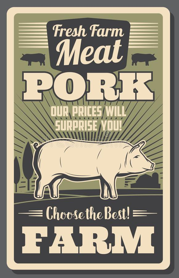 Cartel del vintage de la granja de la carne con el cerdo crecido en granja stock de ilustración