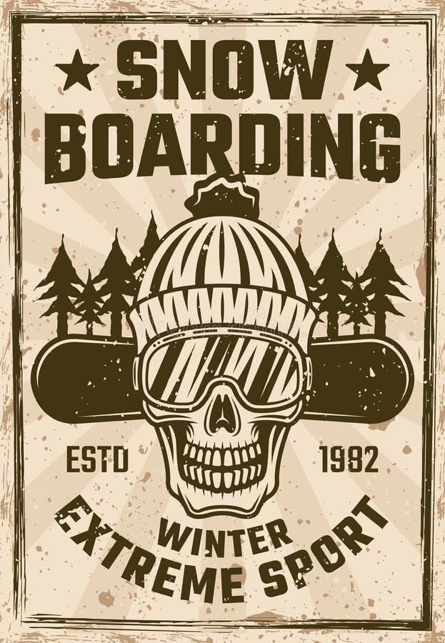 Cartel del vintage de la snowboard con el cráneo del snowboarder stock de ilustración