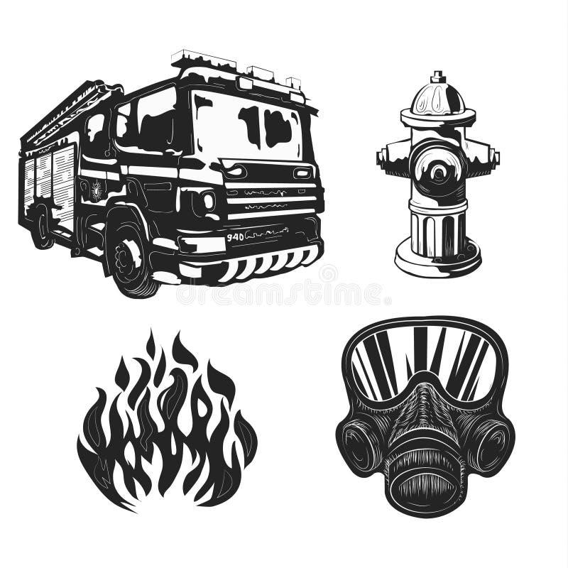 Cartel del vintage de los dibujos gráficos con los bomberos stock de ilustración