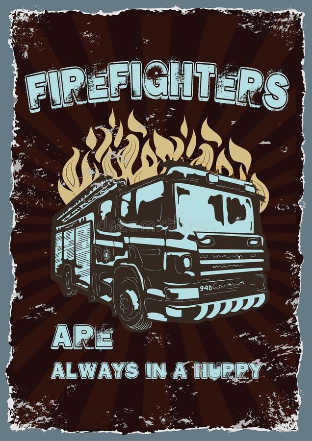 Cartel del vintage de los dibujos gráficos con los bomberos libre illustration