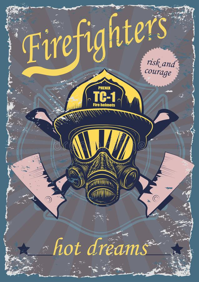 Cartel del vintage de los dibujos gráficos con los bomberos ilustración del vector