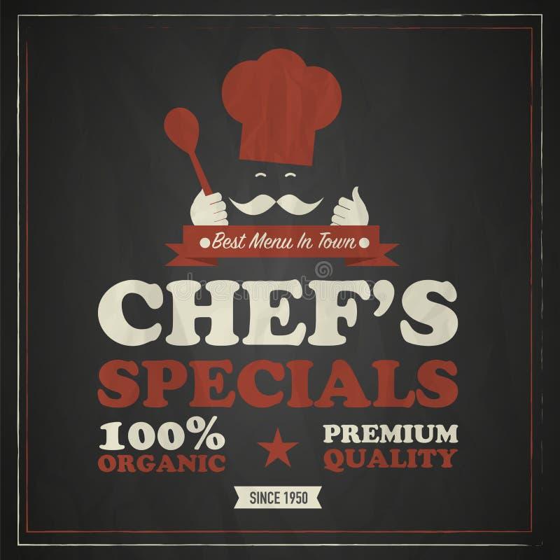 Cartel del vintage del cocinero del cocinero stock de ilustración