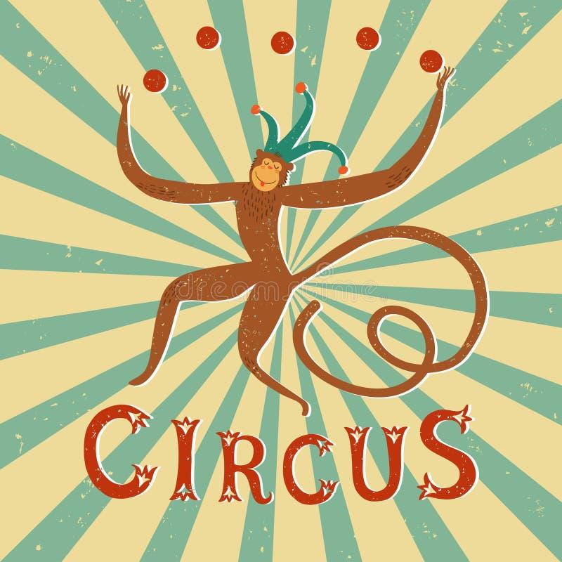 Cartel del vintage del funcionamiento del circo con el mono ilustración del vector