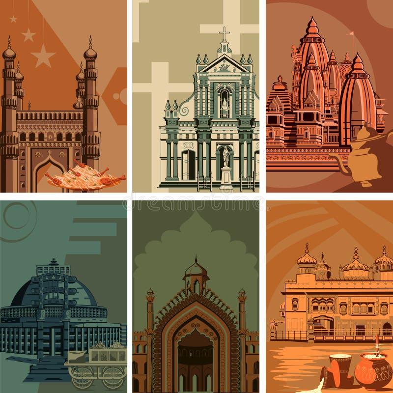 Cartel del vintage del lugar famoso de la señal con el monumento de la herencia en la India libre illustration