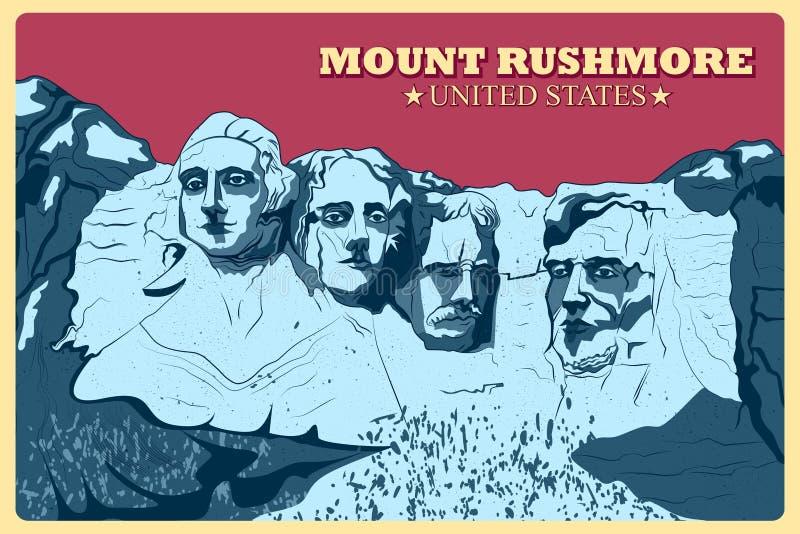 Cartel del vintage del monumento famoso del monte Rushmore en Estados Unidos stock de ilustración