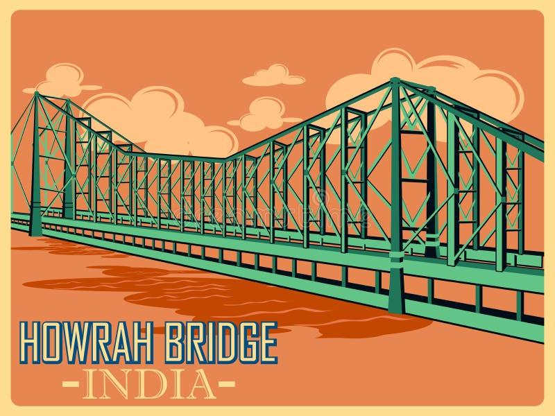 Cartel del vintage del puente de Howrah en el monumento famoso de Kolkata de la India ilustración del vector