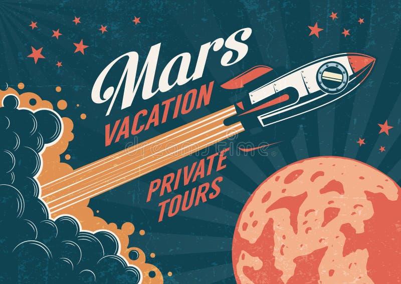 Cartel del vintage - el cohete vuela al planeta Marte stock de ilustración