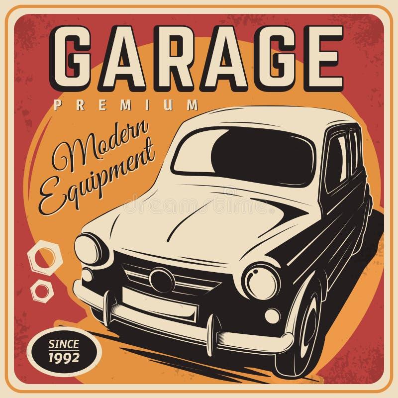 Cartel del vintage, reparación auto libre illustration