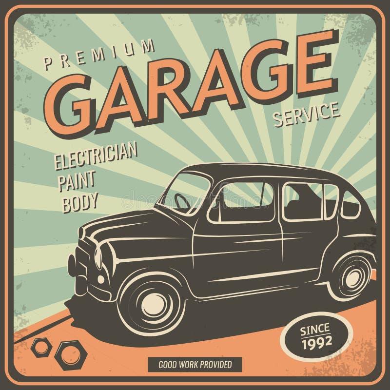 Cartel del vintage, reparación auto ilustración del vector