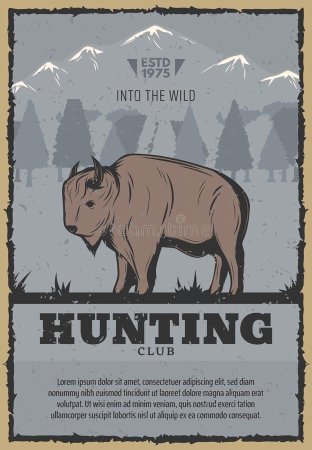Cartel del vintage del vector para la caza del búfalo libre illustration