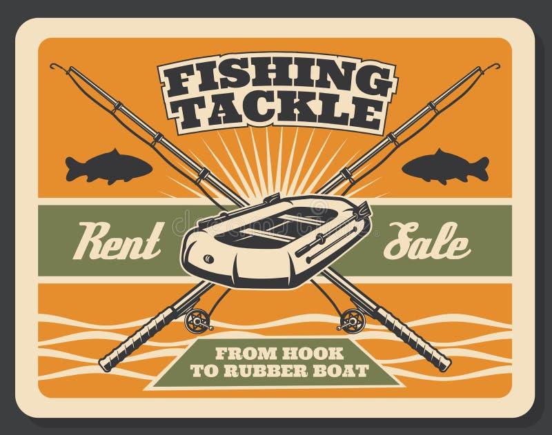Cartel del vintage del vector para pescar la tienda libre illustration