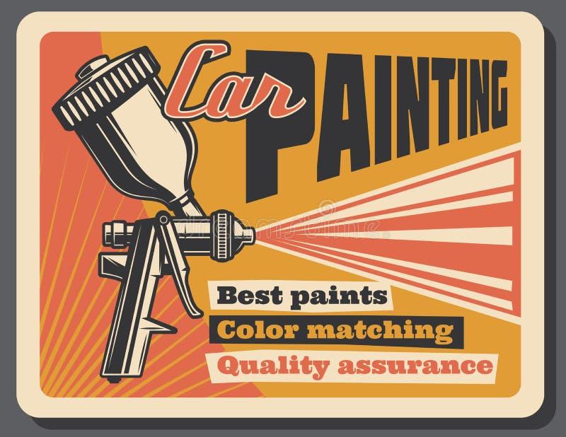 Cartel del vintage del vector del servicio de la pintura del coche ilustración del vector