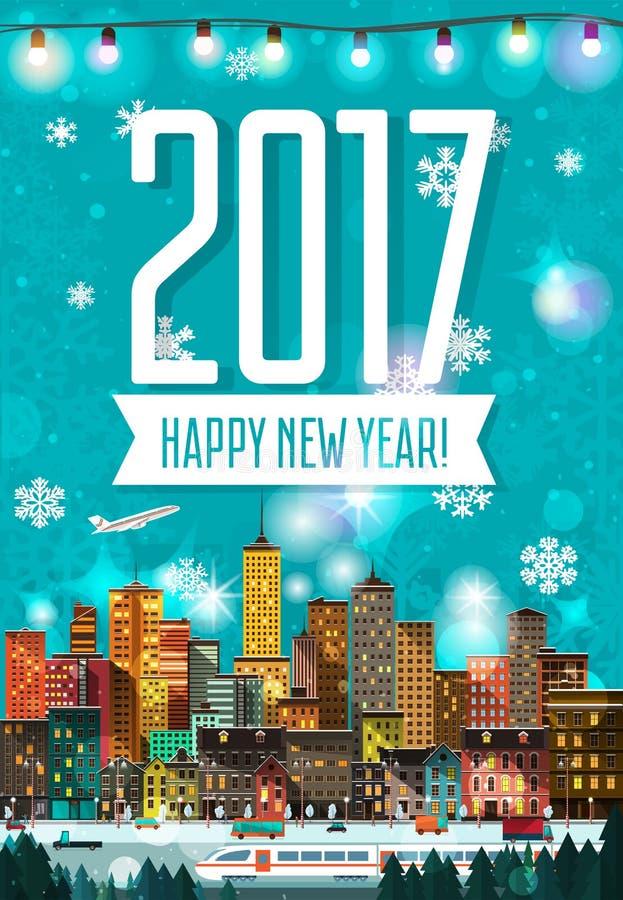 Cartel detallado plano moderno elegante del Año Nuevo libre illustration