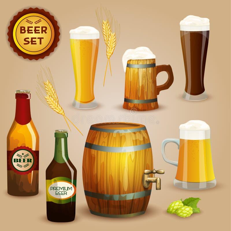 Cartel determinado de la composición de los iconos de la cerveza ilustración del vector