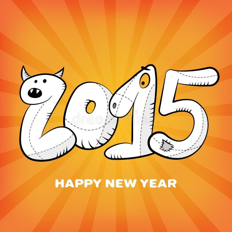 Cartel dibujado mano de la tarjeta de felicitación de la Feliz Año Nuevo 2015 libre illustration