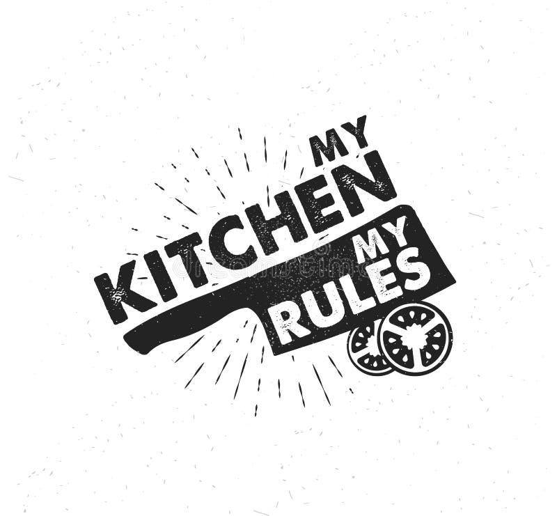 Cartel dibujado mano de la tipografía Tipografía inspirada del vector Mi cocina, mis reglas caligrafía del vector libre illustration