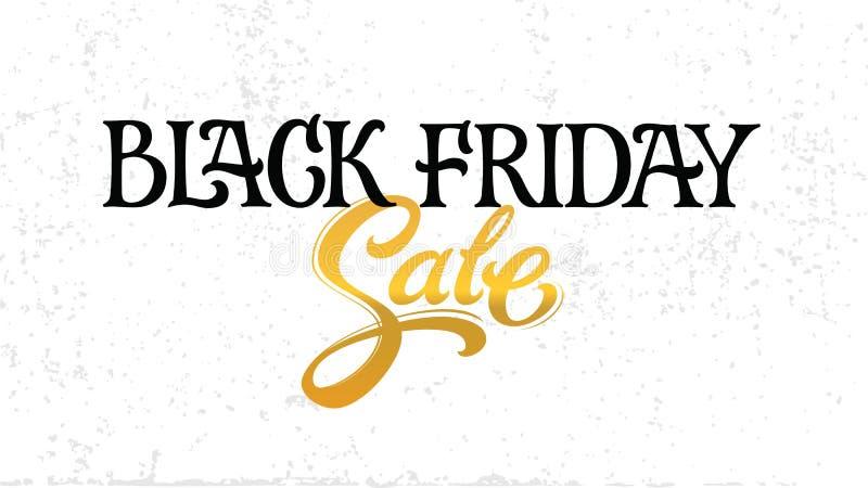 Cartel dibujado mano de la tipografía de las letras de la venta de Black Friday stock de ilustración