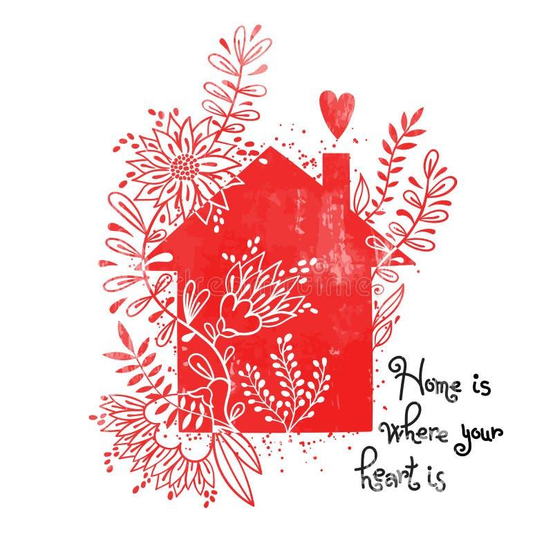 Cartel dibujado mano de la tipografía Vector el ejemplo con la silueta negra de la casa, elementos florales y el hogar del texto  libre illustration