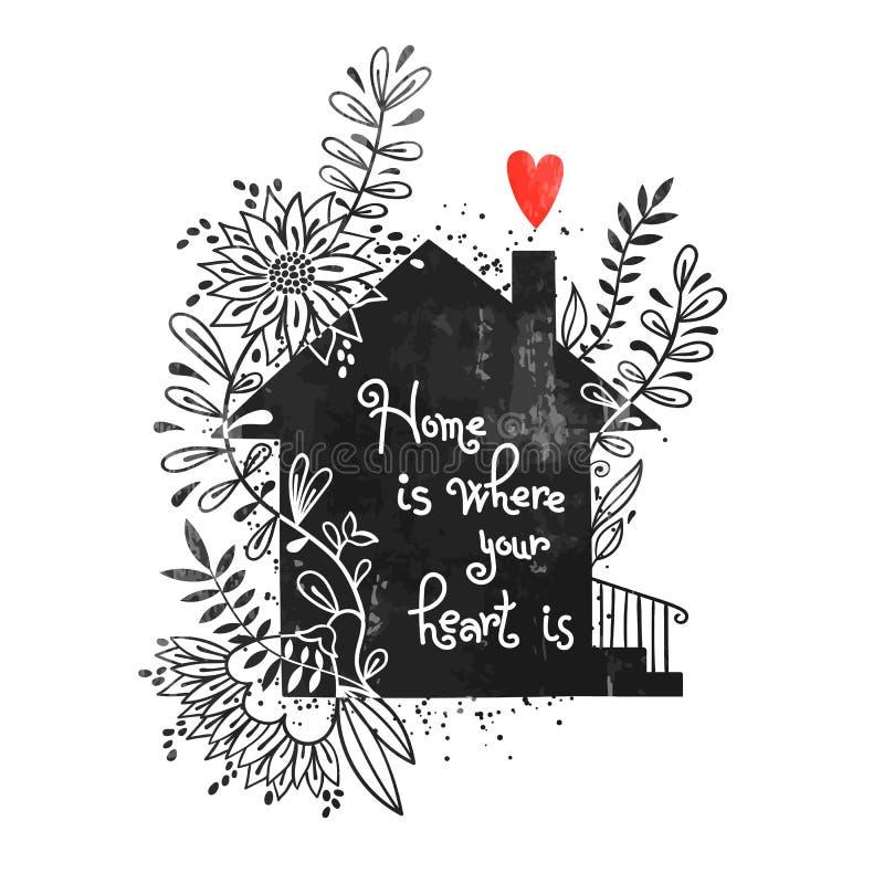 Cartel dibujado mano de la tipografía Vector el ejemplo con la silueta negra de la casa, elementos florales y el hogar del texto  stock de ilustración