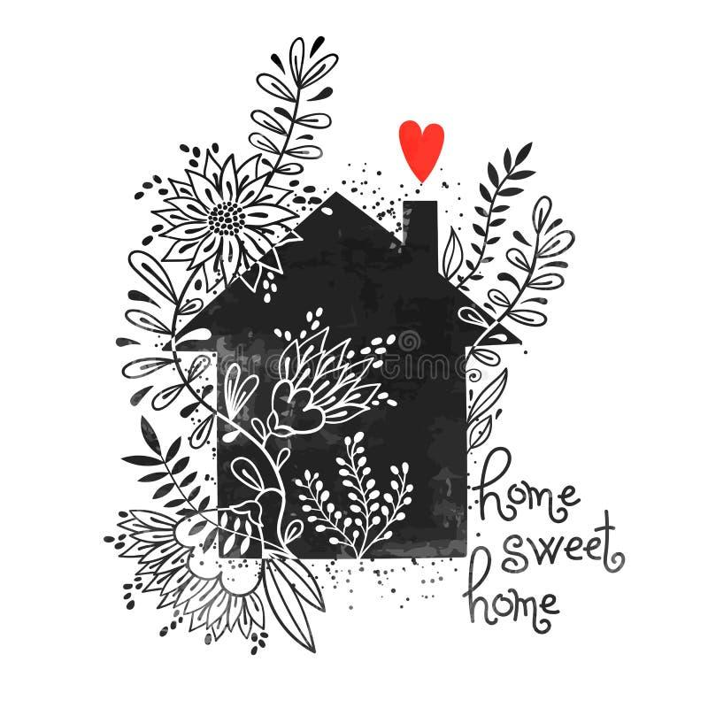 Cartel dibujado mano de la tipografía Vector el ejemplo con la silueta negra de la casa, el hogar floral de los elementos, del co ilustración del vector