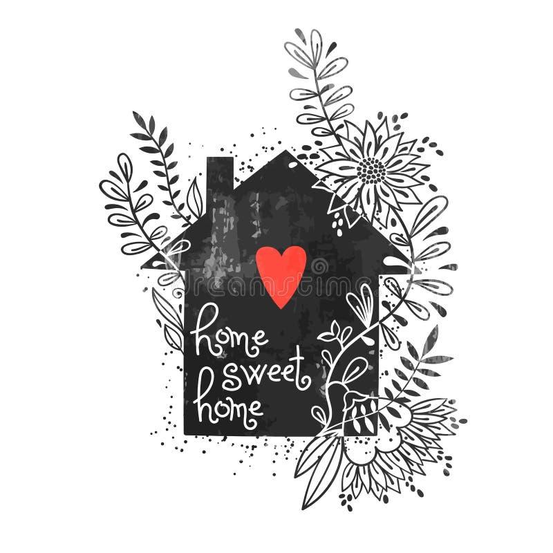 Cartel dibujado mano de la tipografía Vector el ejemplo con la silueta negra de la casa, el hogar floral de los elementos, del co libre illustration
