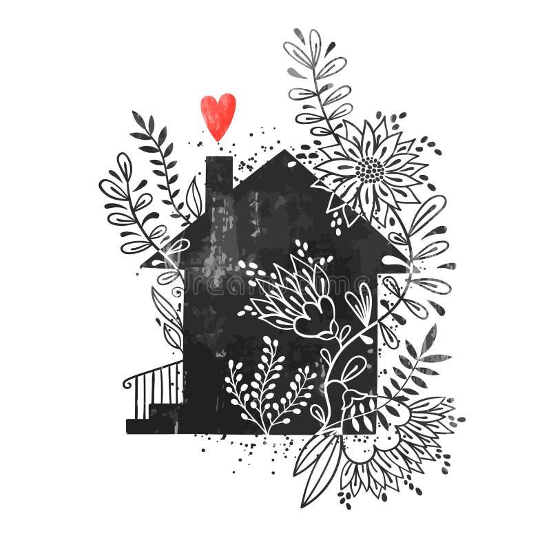 Cartel dibujado mano de la tipografía Vector el ejemplo con la silueta negra de la casa, los elementos florales y el corazón Tarj stock de ilustración