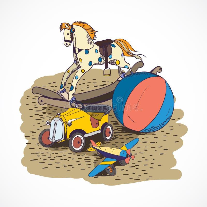Cartel dibujado mano del bosquejo de los juguetes stock de ilustración