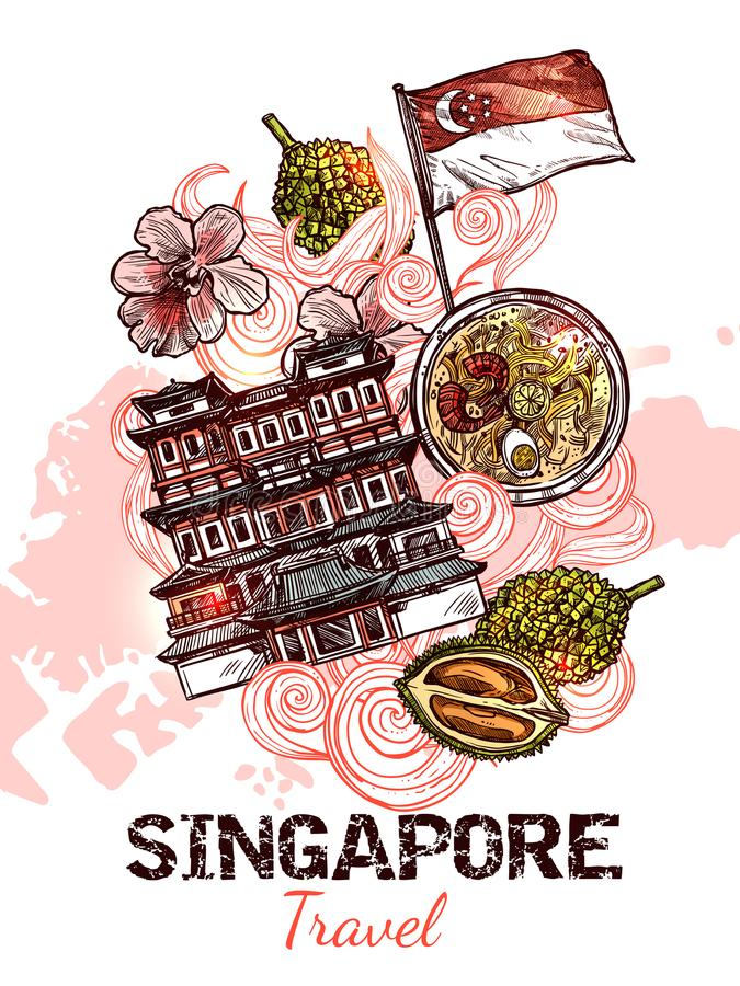 Cartel dibujado mano del bosquejo de Singapur libre illustration