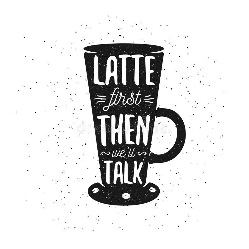 Cartel dibujado mano del café de la tipografía stock de ilustración