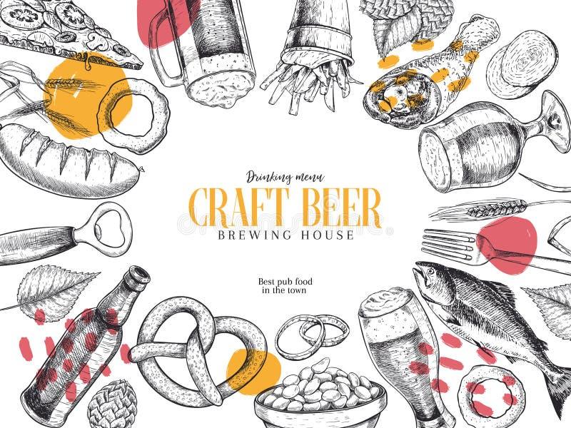 Cartel dibujado mano del pub de Oktoberfest Cerveza y bocados Vector el vidrio, botella, abrelatas, pescado, pretzel, cebada, sal ilustración del vector