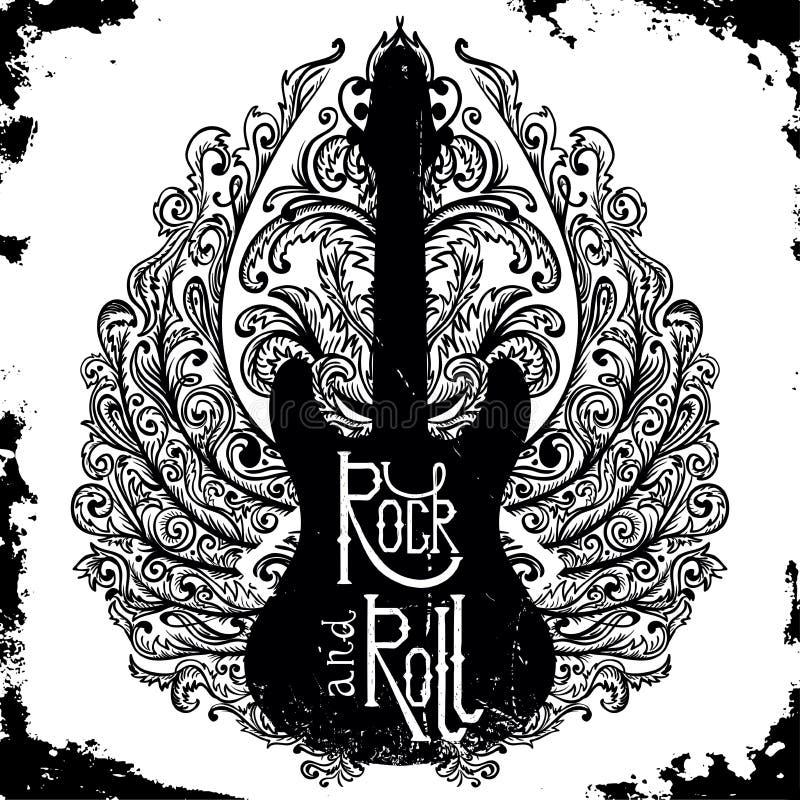 Cartel dibujado mano del vintage con la guitarra eléctrica, las alas adornadas y rock-and-roll de las letras en fondo del grunge libre illustration