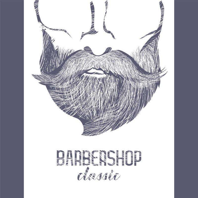 Cartel diseñado para las barberías, el salón etc del harcut libre illustration