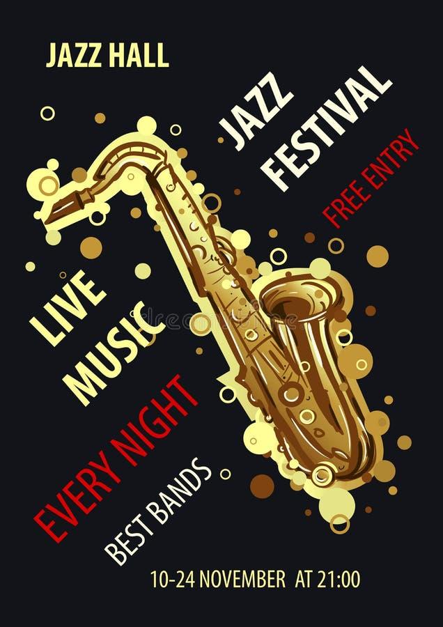 Cartel diseñado retro del festival de jazz Ejemplo abstracto del vector del estilo stock de ilustración