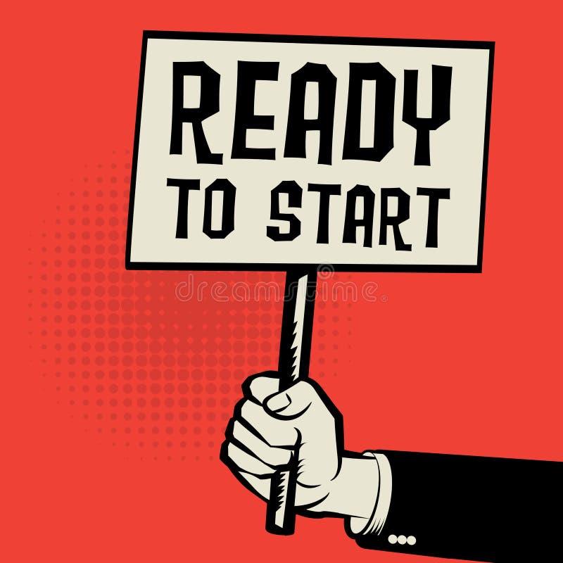 Cartel a disposición, texto del concepto del negocio listo para comenzar stock de ilustración