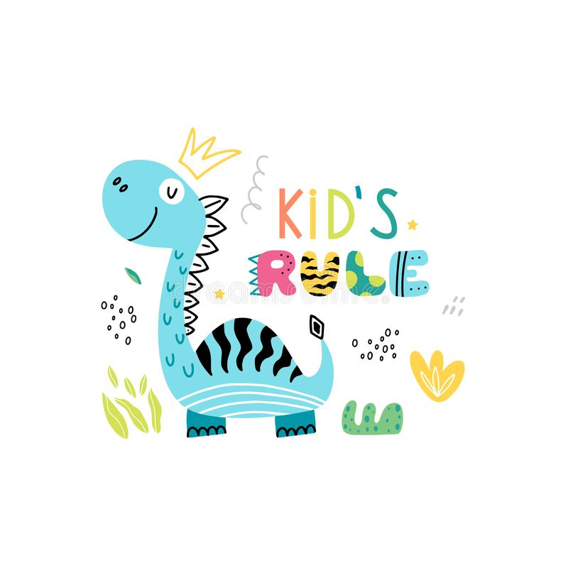 Cartel divertido del dinosaurio para los niños libre illustration