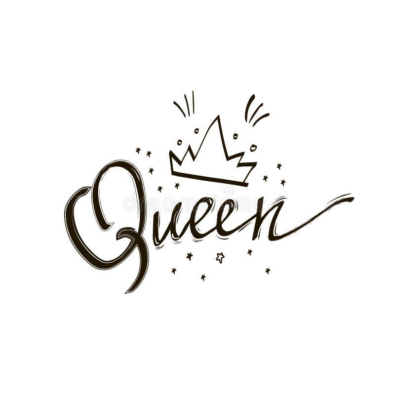 Cartel divertido del diseño de la caligrafía del vector de la corona de la reina Letras negras de la reina con las estrellas Ejem ilustración del vector