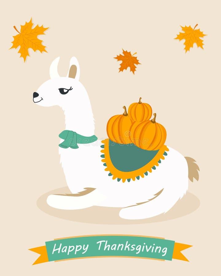 Cartel divertido para el día de la acción de gracias con el lama y las calabazas libre illustration