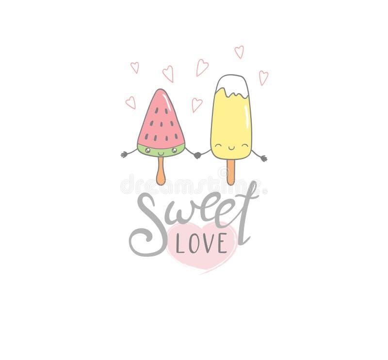 Cartel dulce del helado del amor ilustración del vector
