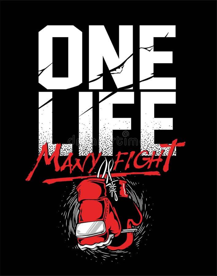 Cartel e impresión de la motivación del boxeo del Grunge con los guantes de boxeo, el texto, el resplandor solar y la textura del ilustración del vector
