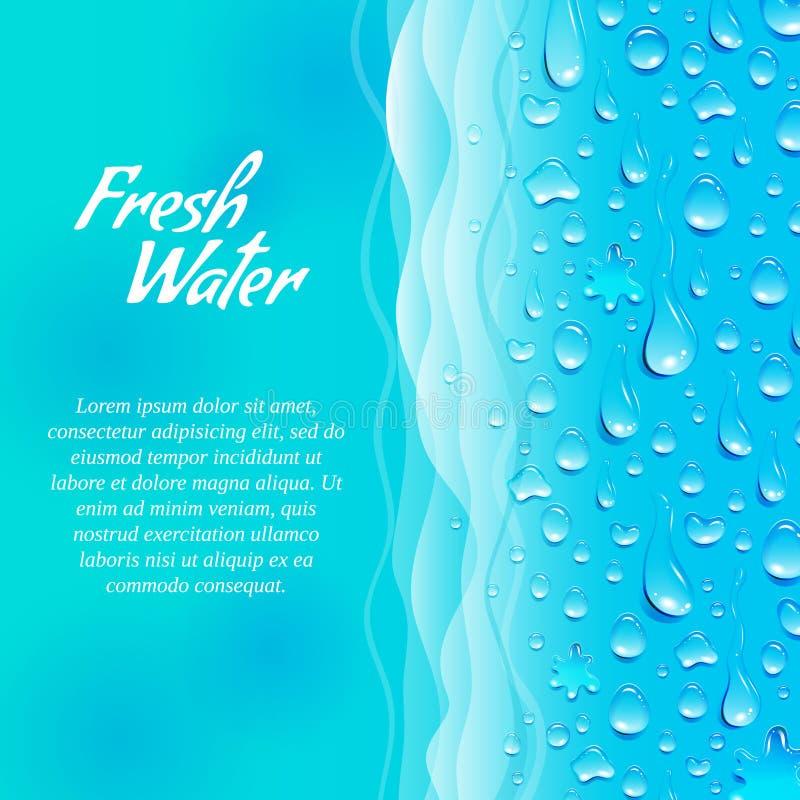 Cartel ecológico de la promoción del agua dulce ilustración del vector