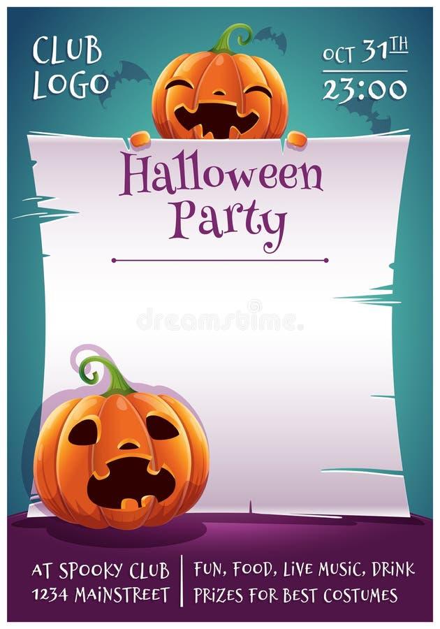 Cartel editable del feliz Halloween con la sonrisa y calabazas asustadas con el pergamino en fondo azul marino con los palos Feli stock de ilustración