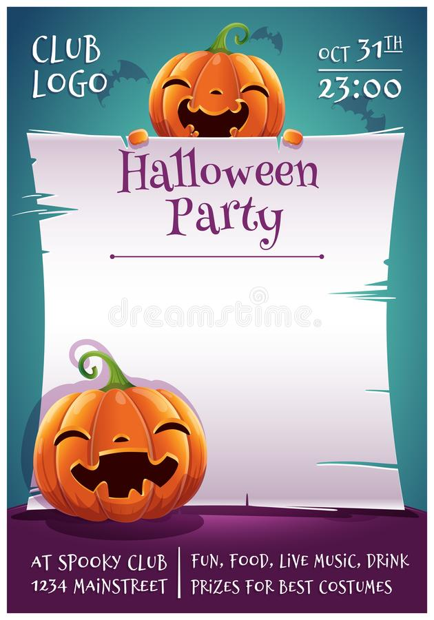 Cartel editable del feliz Halloween con la sonrisa y calabazas felices con el pergamino en fondo azul marino con los palos Feliz ilustración del vector