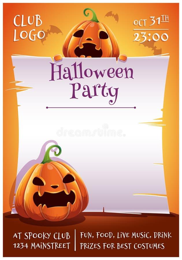 Cartel editable del feliz Halloween con las calabazas enojadas y asustadas con el pergamino en fondo anaranjado con los palos Fel libre illustration