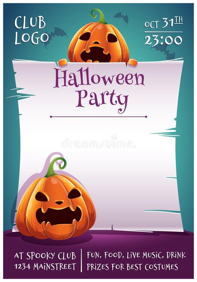 Cartel editable del feliz Halloween con las calabazas enojadas y asustadas con el pergamino en fondo azul marino con los palos Fe libre illustration