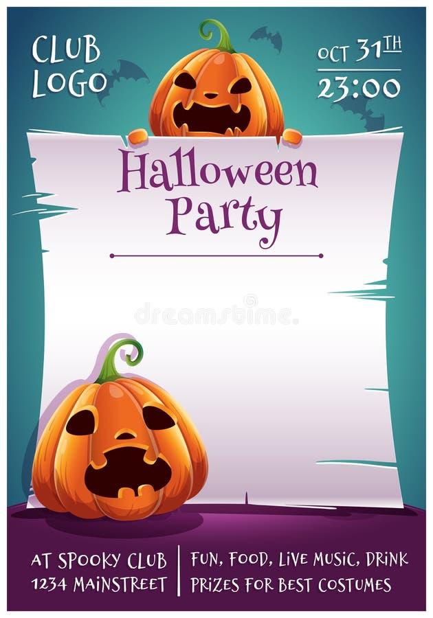 Cartel editable del feliz Halloween con las calabazas enojadas y asustadas con el pergamino en fondo azul marino con los palos Fe ilustración del vector